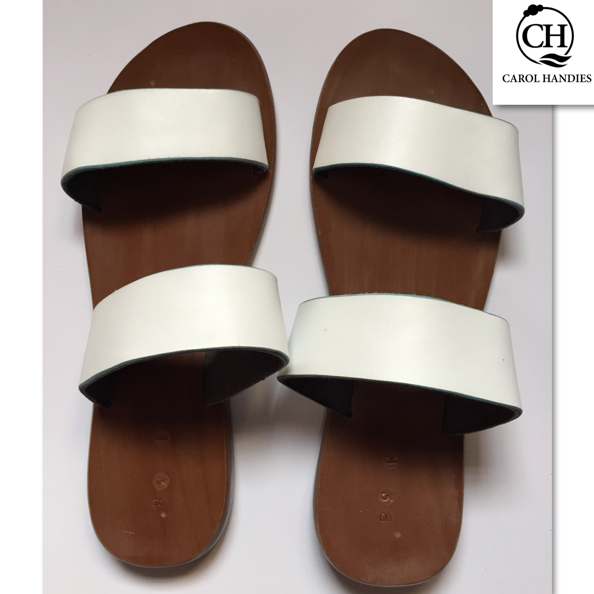 ladies flats brown and white leather sandals