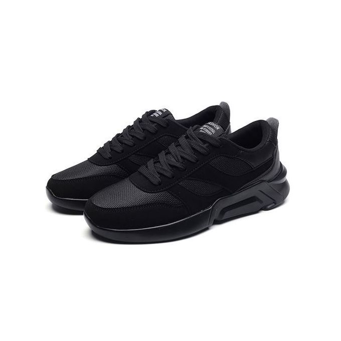 low-top lace up sneakers - black