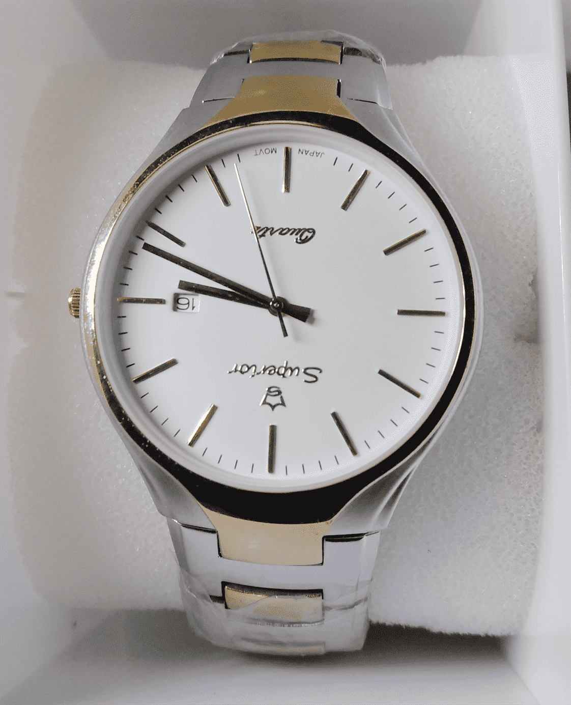 superior quality  men wrist watch -  silver plated - with golden touch color
