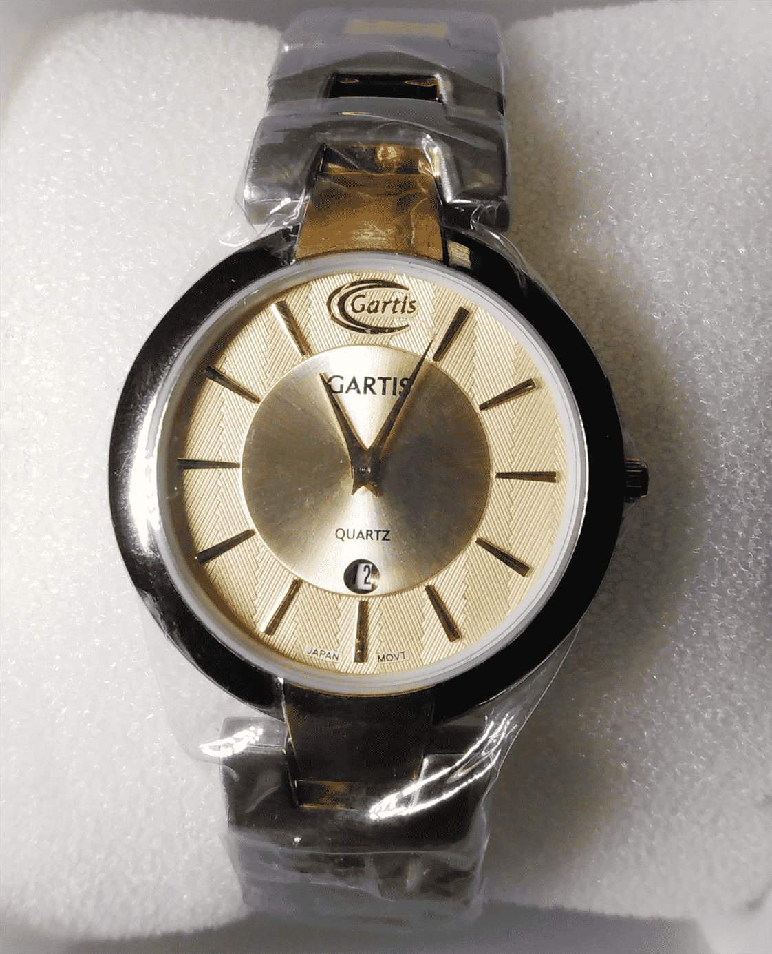 men wrist watch -  silver and gold plated